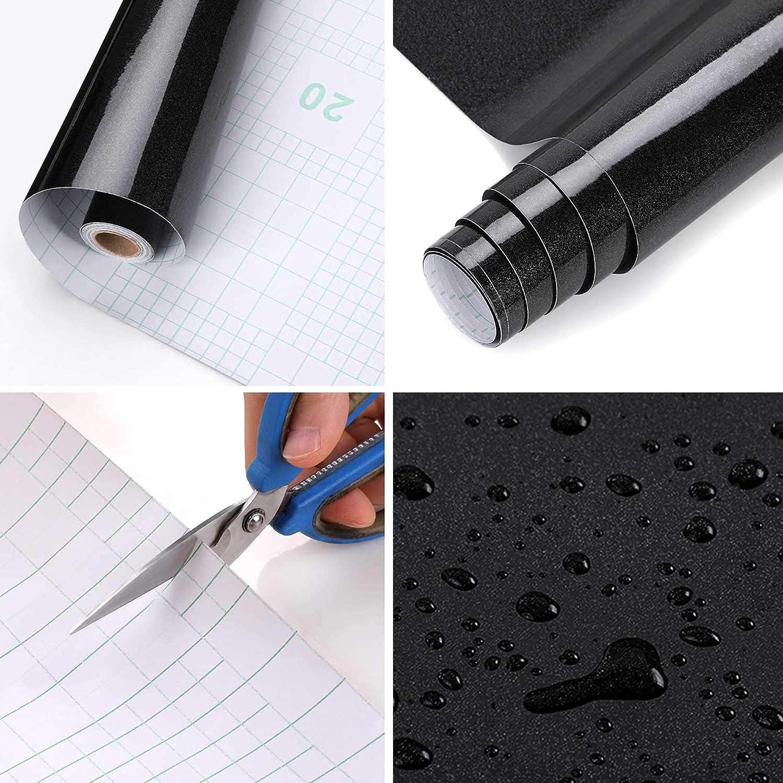 black Back Sticky Self Adhesive Wallpaper Glitter Sticky Stickers Waterproof Kitchen Wallpaper Rolls Stickers for Cupboard Furniture Wardrobe Door Cover PVC Vinyl Film 2m/² ALUYF 40 * 500cm
