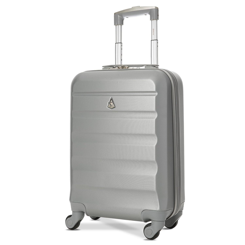 Aerolite ABS Bagage Cabine Bagage à Main Valise Rigide Légere à 4 roulettes, Approuvées pour Ryanair, Easyjet, Air France, Lufthansa, Jet2, Monarch et Plus, Argent