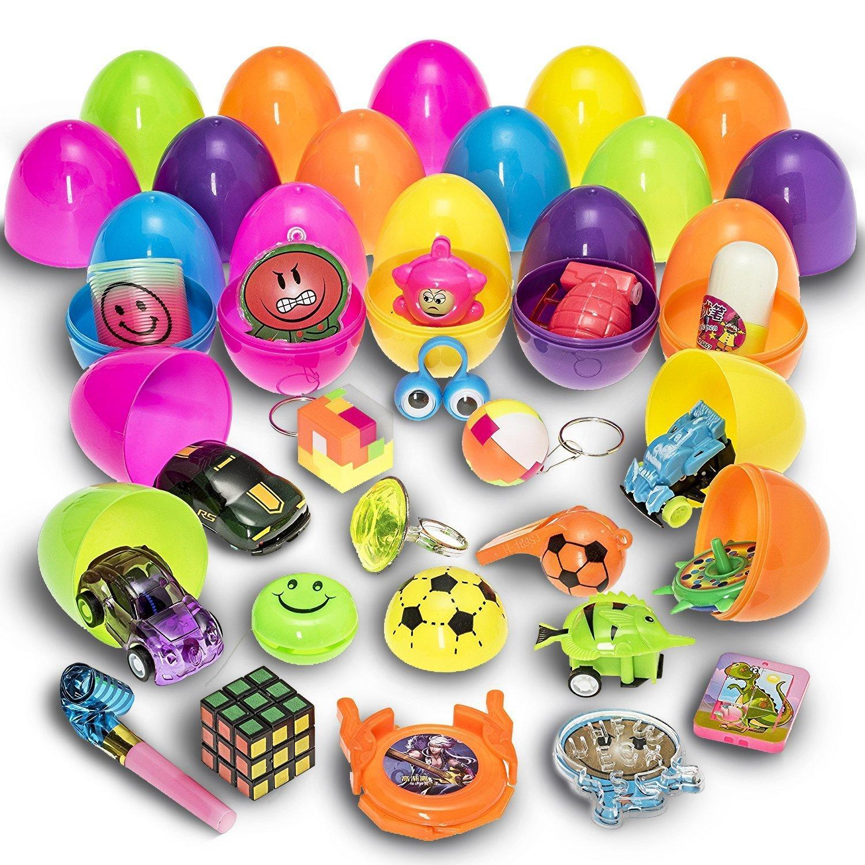 Prextex 30 Uova di Pasqua Giocattolo Riempite con Mini Giochi e Gadget