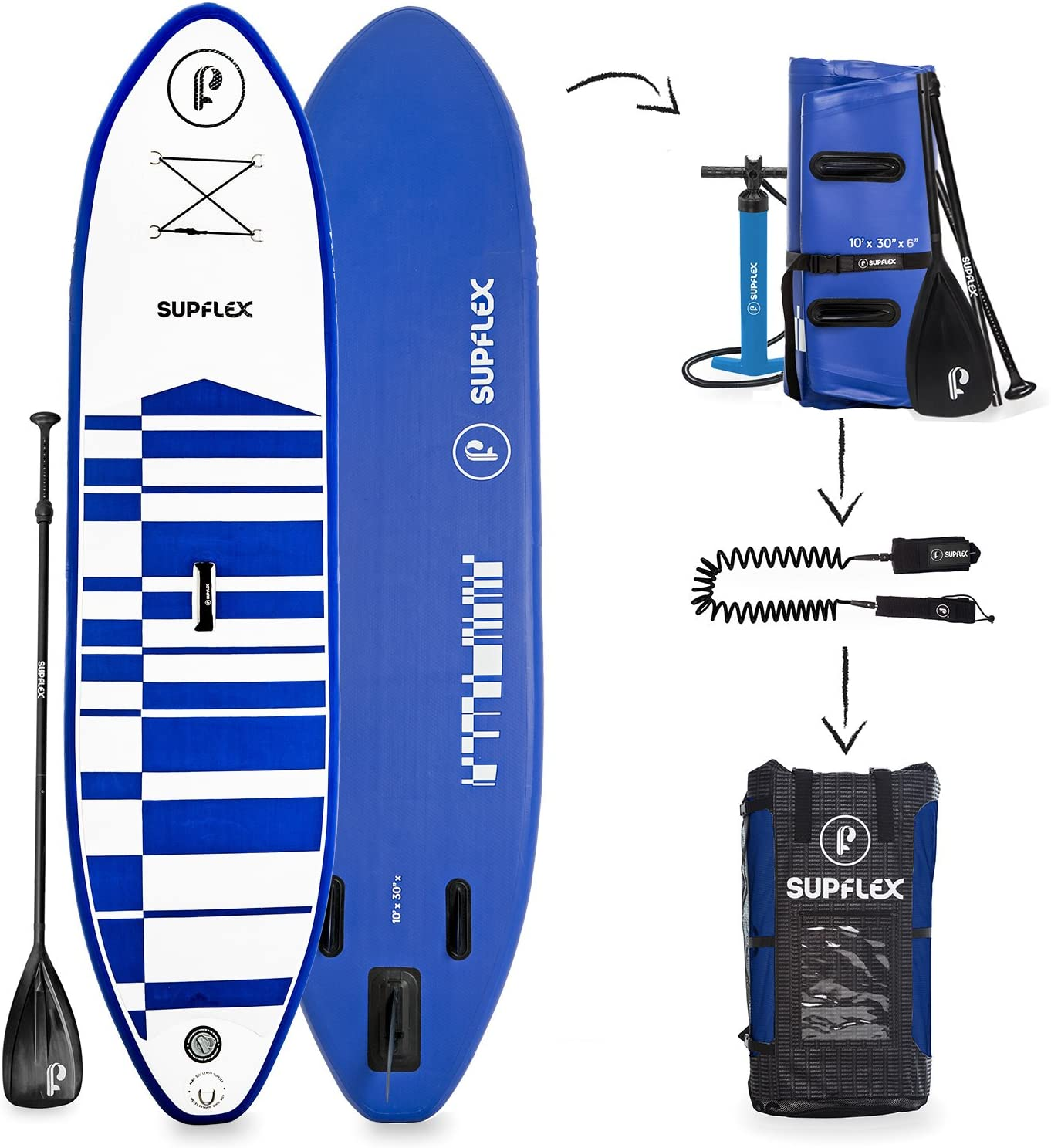 Supflex 10 Inflatable Stand Up Paddleboard 6 Thick 2-YR Warranty, Includes Backpack, Paddle, HP Pump Free Leash
