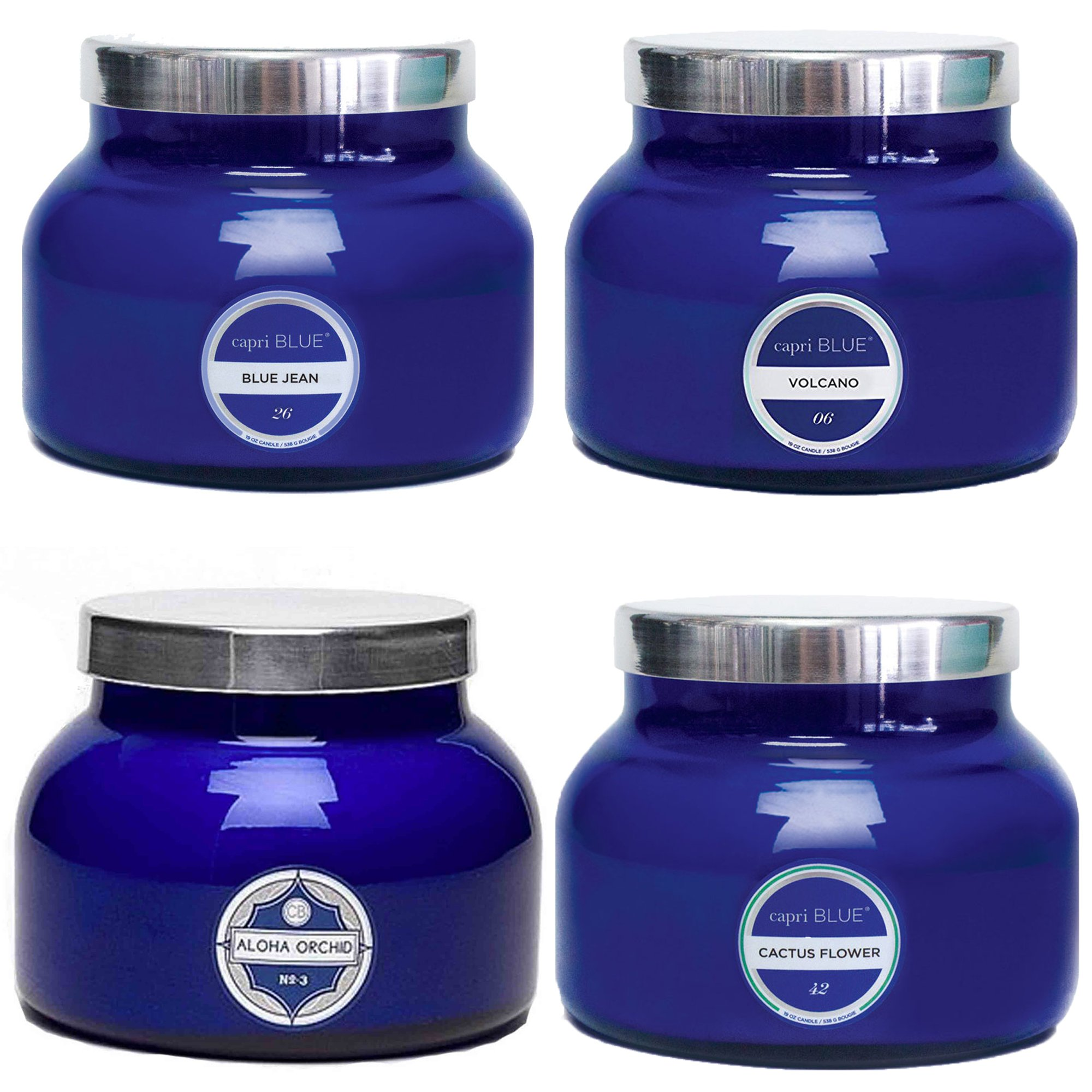 Capri Blue 19 oz 4 Scent Signature Blue Jar Candles (4 pack)