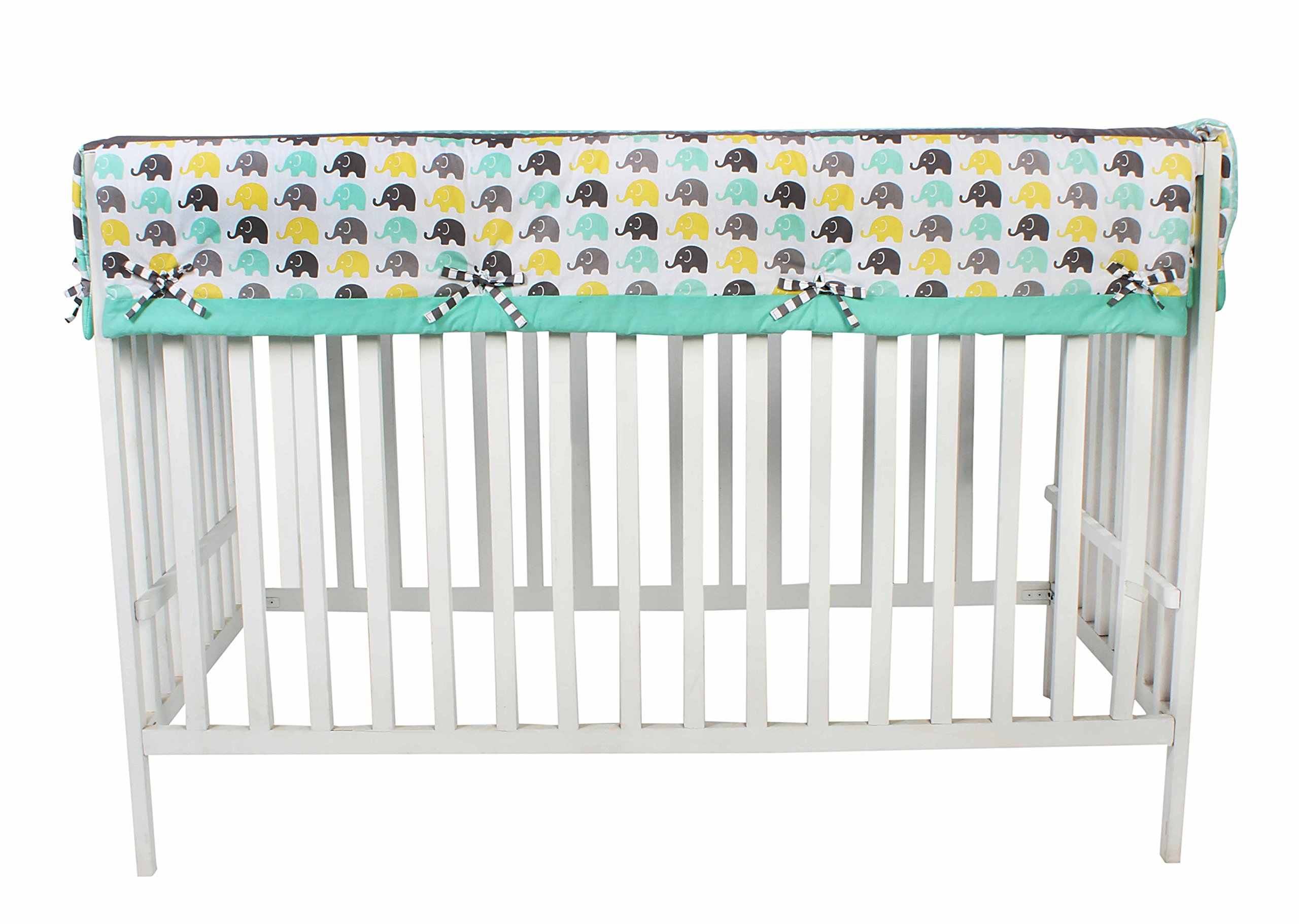 Bacati Elephants Unisex Long Crib Rail Guard Cover Made with 100 Cotton Percale Fabrics and Polyester Batting for US Standard Cribs, Mint/Yellow/Grey by Bacati