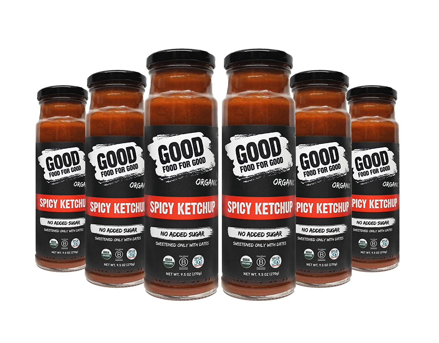 Good Food For Good Organic Spicy Ketchup, No Added Sugar - Whole30, Keto - Gluten-free, (9.5 Oz), 6-Pack