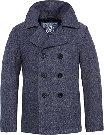 Brandit Hombres Pea Coat Denim Azul Herringbone