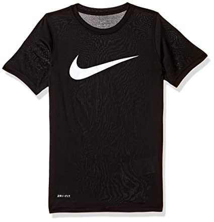 04e6560eb8401 Amazon.com  NIKE Boys  Dry Short Sleeve Swoosh Solid Tee  Sports ...