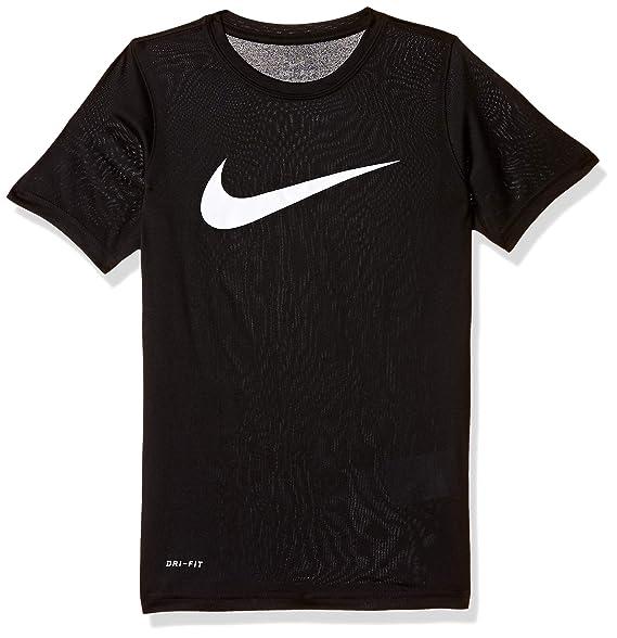 b0b59a79a Amazon.com: NIKE Boys' Dry Short Sleeve Swoosh Solid Tee: Clothing
