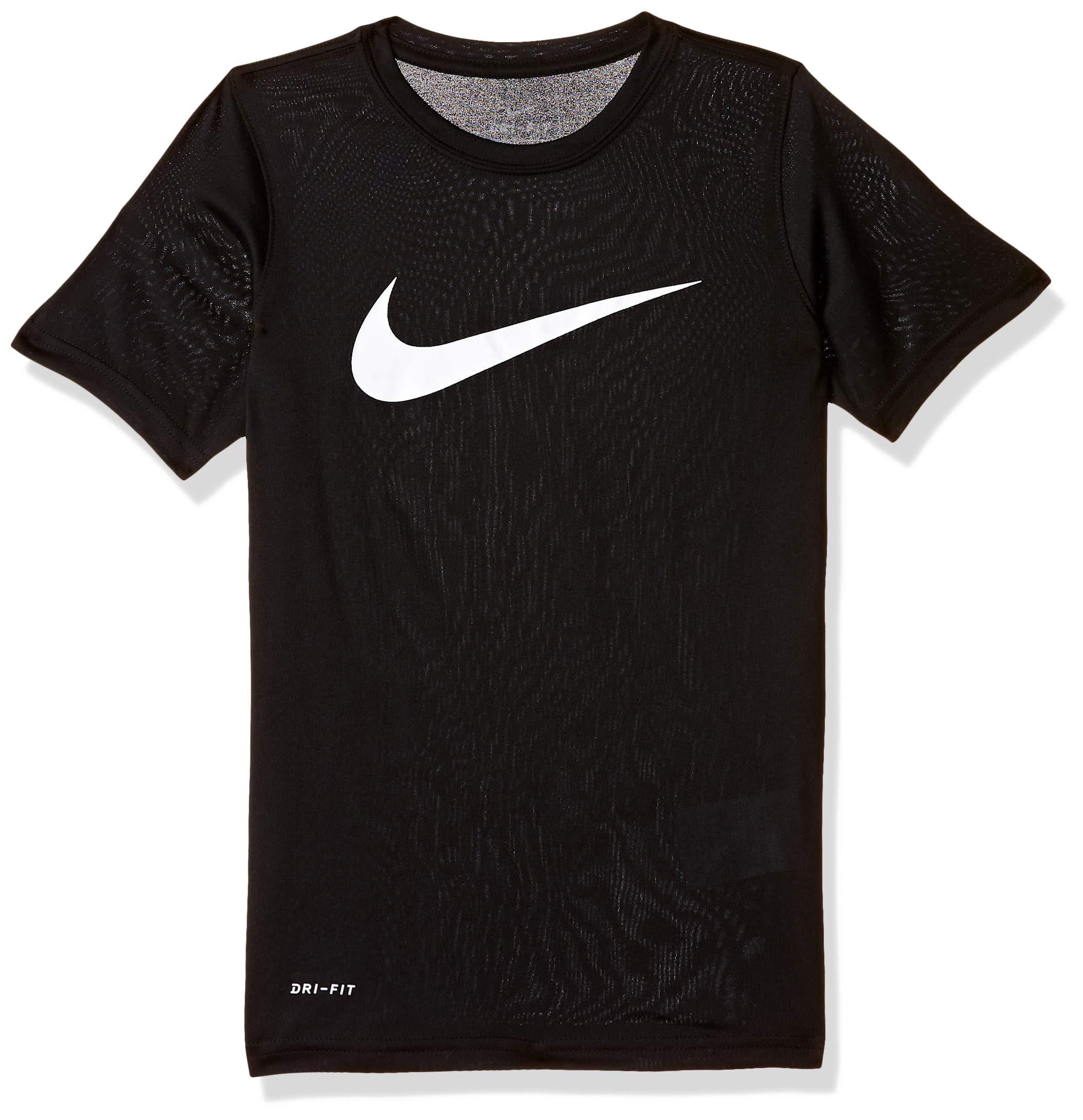 NIKE Boys' Dry Short Sleeve Swoosh Solid Tee, Black/White, X-Small