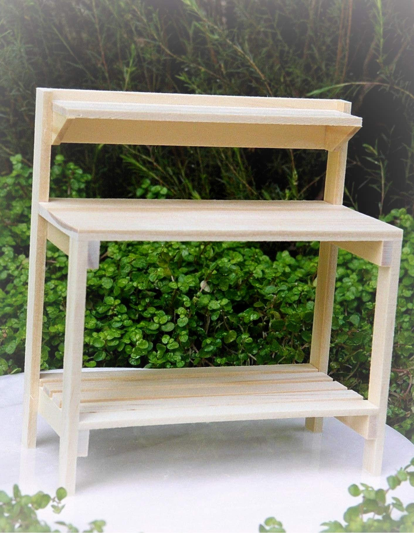 Dollhouse Furniture Natural Wood Potting Table Workbench - Miniature Magic Scene Supplies Your Fairy Garden - Outdoor House Decor