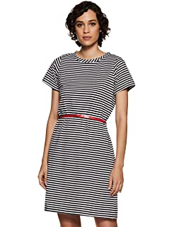 9f5470e6877 Miss Chase Womens Black and White Striped Cold Shoulder Dress ...