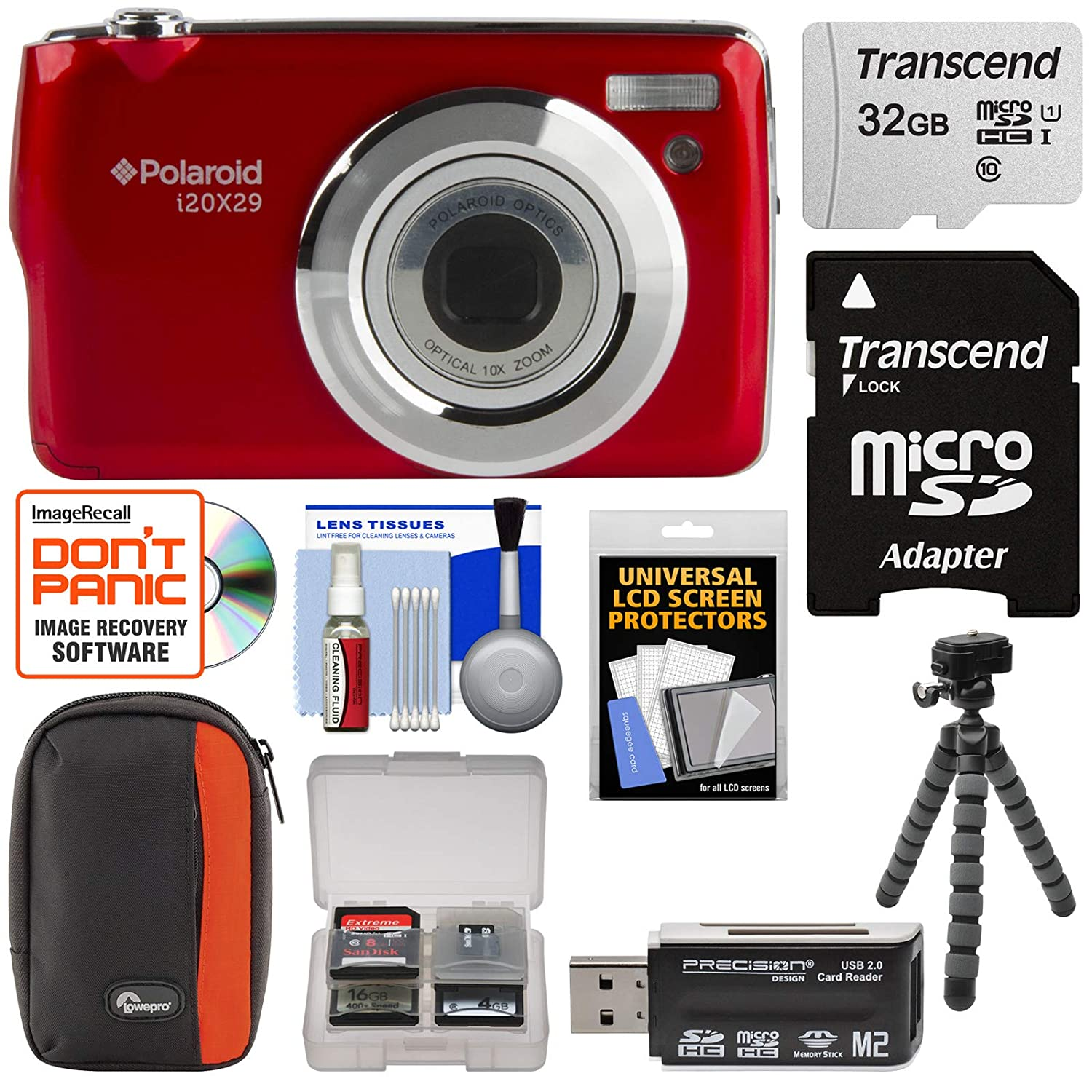 Polaroid i20X29 Digital Camera (Red) with 32GB Card + Case + Flex Tripod + Reader + Kit