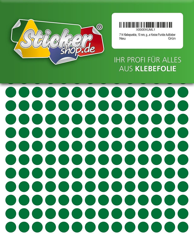 714 Klebepunkte, 10 mm, grü n, aus PVC Folie, wetterfest, Markierungspunkte Kreise Punkte Aufkleber Werbepartner WPA10-4910