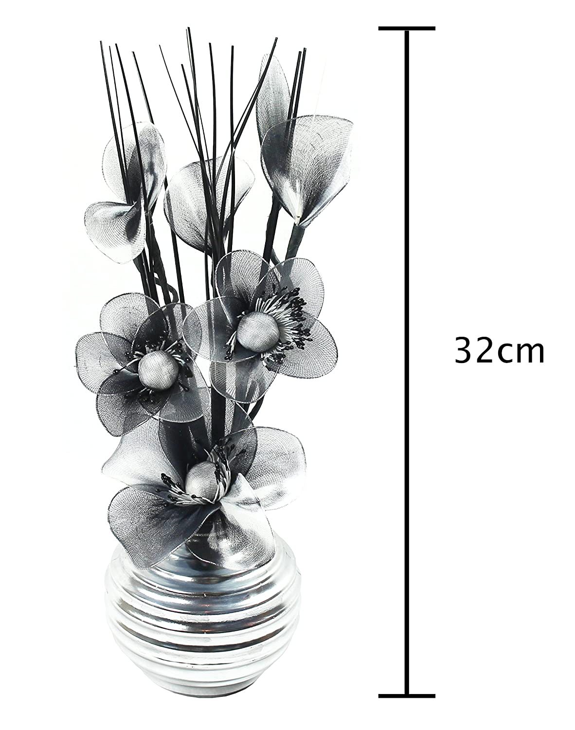 Amazon Flourish 705947 813 Silver Vase With Black And White