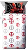 Marvel Deadpool Invasion 4 Piece Queen Sheet Set White/Red/Gray