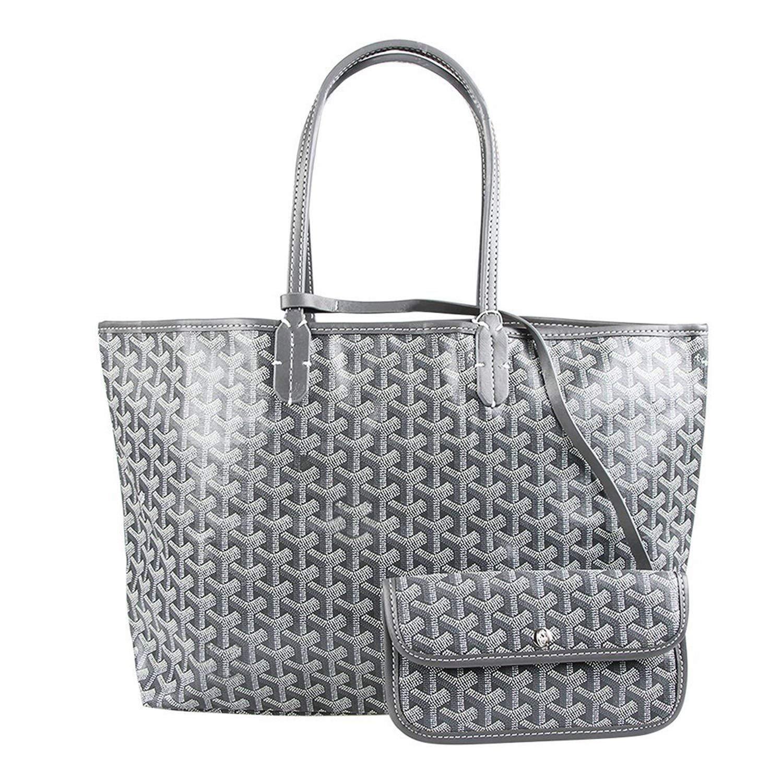 Stylesty Fashion Shopping PU Tote Bag, Designer Shoulder Handbags with Key Ring (Large, Grey) by Stylesty (Image #1)