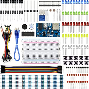 Electronics Component Basic Kit with 830 tie-points Breadboard Cable ResistoYXFR