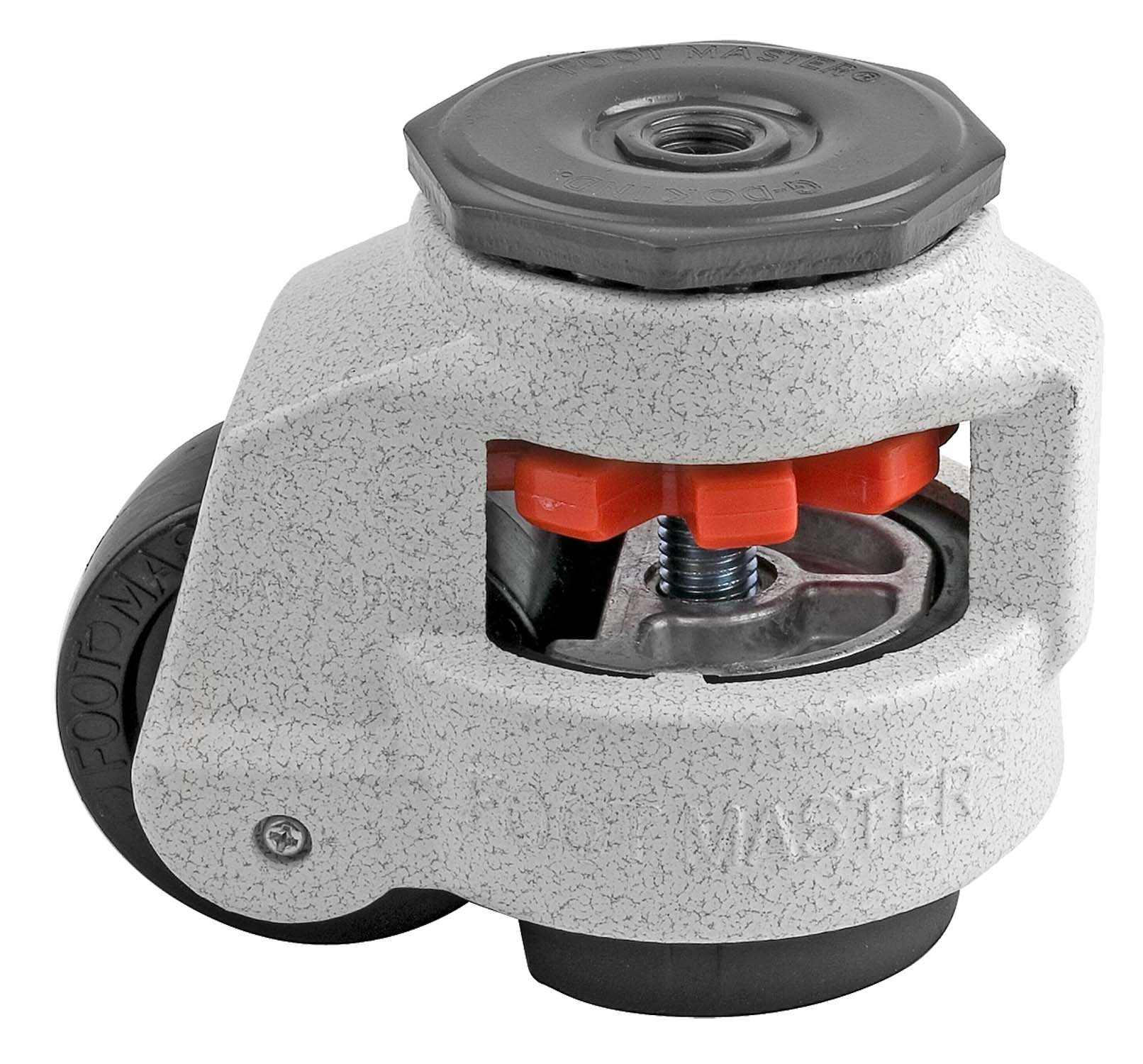 FOOTMASTER GD-80S-1/2 Nylon Wheel and NBR Pad Leveling Caster, 1100 lbs, Stem Mounted with 0.5'' Mounting Hole Diameter, Ivory Finish