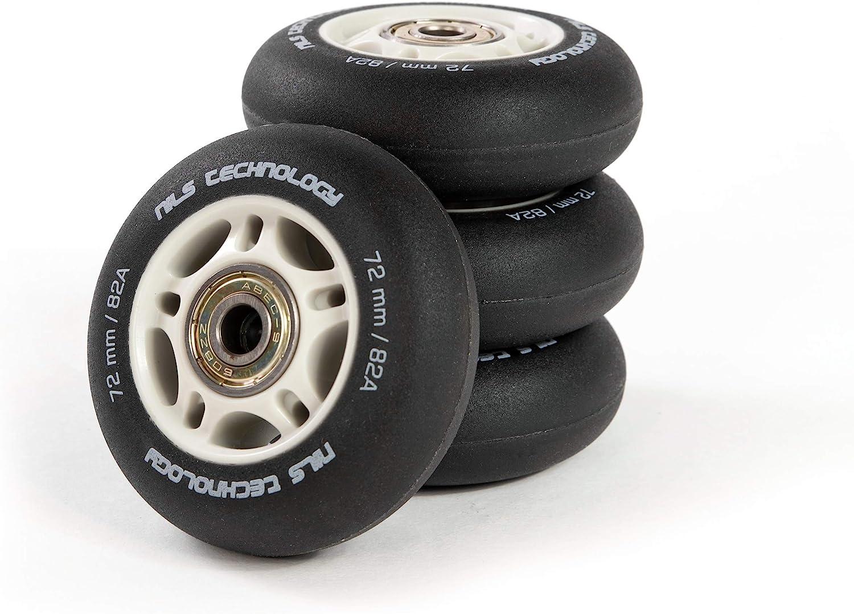 64-80 mm NILS Set di 4 ruote in linea con cuscinetti a sfera in poliuretano con cuscinetti ABEC 9