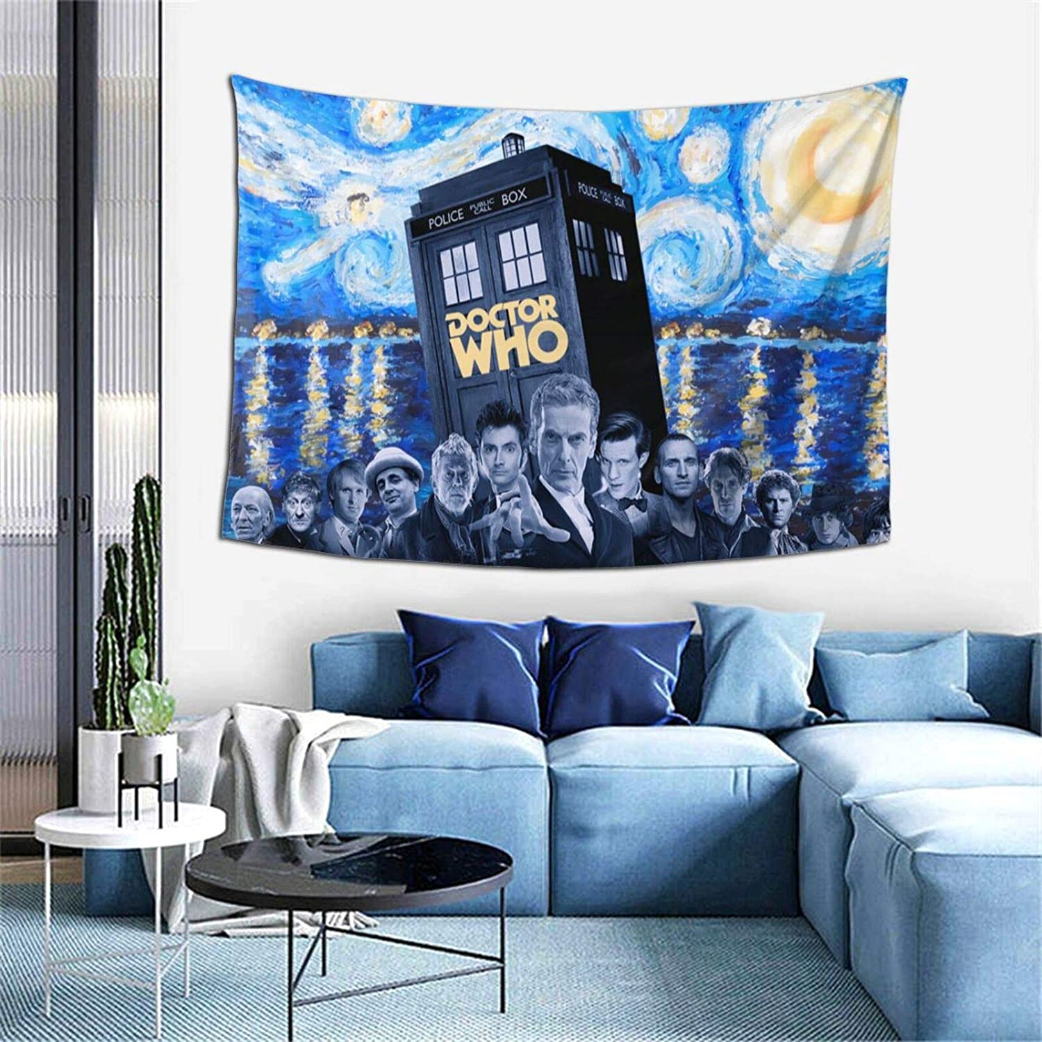 Bestrgi Tapestry Hanging Wall Banner D-o-c-tor W-h-o 3D Printing Wall Hanging Blanket Wall Art for Living Room Bedroom Super Soft Home Decor 60x40 Inches