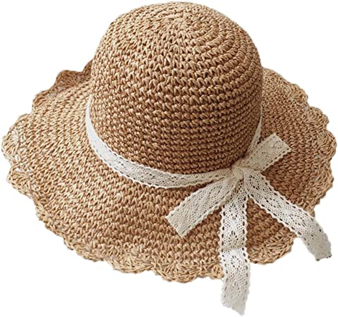 Shpflae Children Straw Hat Lotus Leaf Wave Along Sun Hat Cap Child Sunscreen Outdoor Fedora Beach