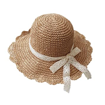 7396f0a6 Greenery-GRE Summer Beach Sun Straw Hats for Toddler Kids Girls Wide Brim  Lace Bow
