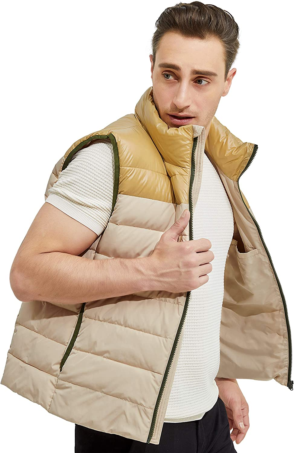 Orolay Mens Light Down Vest Quilted Bubble Jacket Patchwork Winter Puffer Gilet