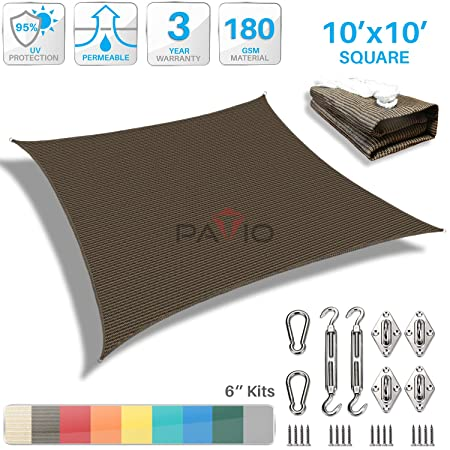 Patio Paradise 10 x 10 Sun Shade Sail with 6 inch Hardware Kit, Brown Square Canopy Durable Shade Fabric Outdoor UV Shelter Cover – 3 Year Warranty – Custom
