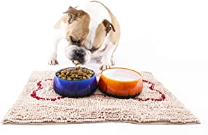 Soggy Doggy Slopmat Small 18-inch x 24-inch Beige Microfiber Chenille Placemat for Sloppy Dogs