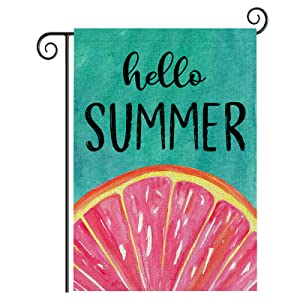 Hello Summer Welcome Garden Flag, Colourful Fruit Double Sided Small Garden Flags 12 x 18 Prime Vertical Porch Lawn Garden Flags for Outside Decoration Seasonal Yard Signs