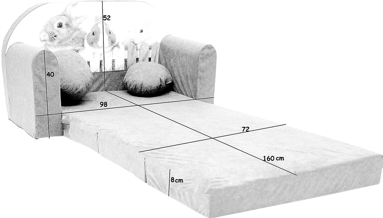 Minisofa Kindersofa Kindercouch Schlafsofa Sofabett Mini Couch mit Kissen und Sitzkissen ROSA HASEN