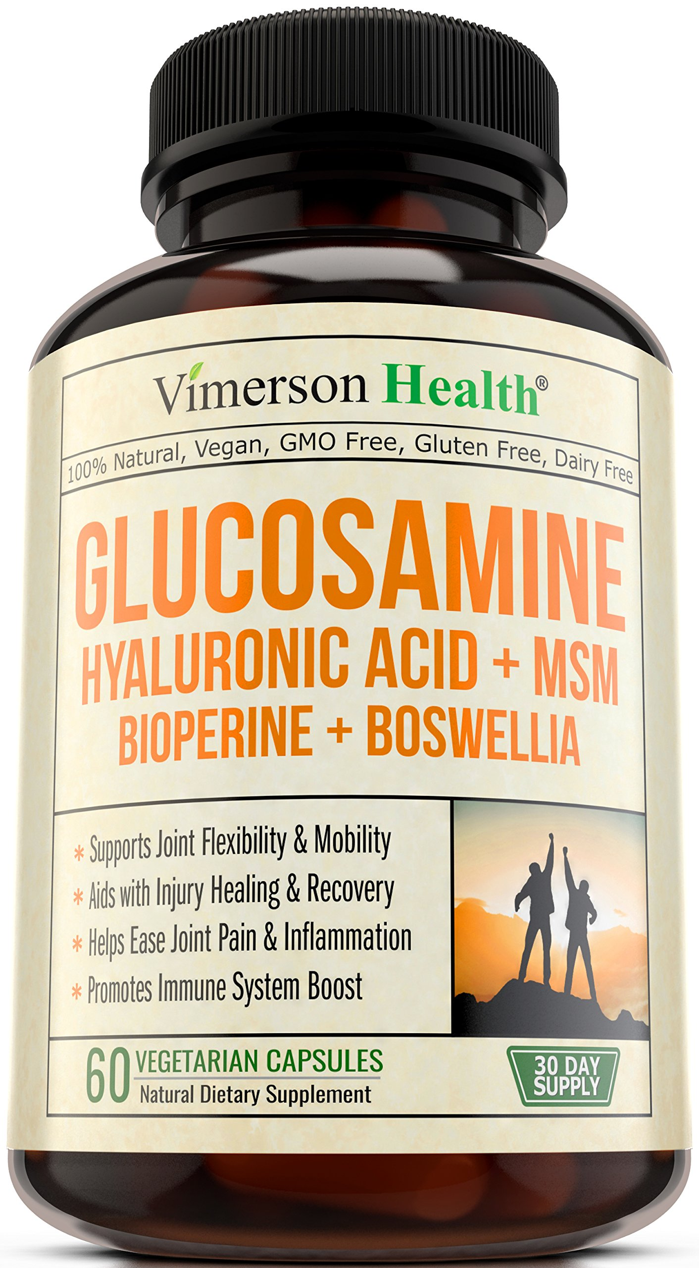 Glucosamine Sulfate with Hyaluronic Acid - Bioperine, MSM, Boswellia. Vegan Joint Pain Relief Supplement. Natural Anti-Inflammatory & Antioxidant Pills for Back, Knees & Hands. Immune System Booster.