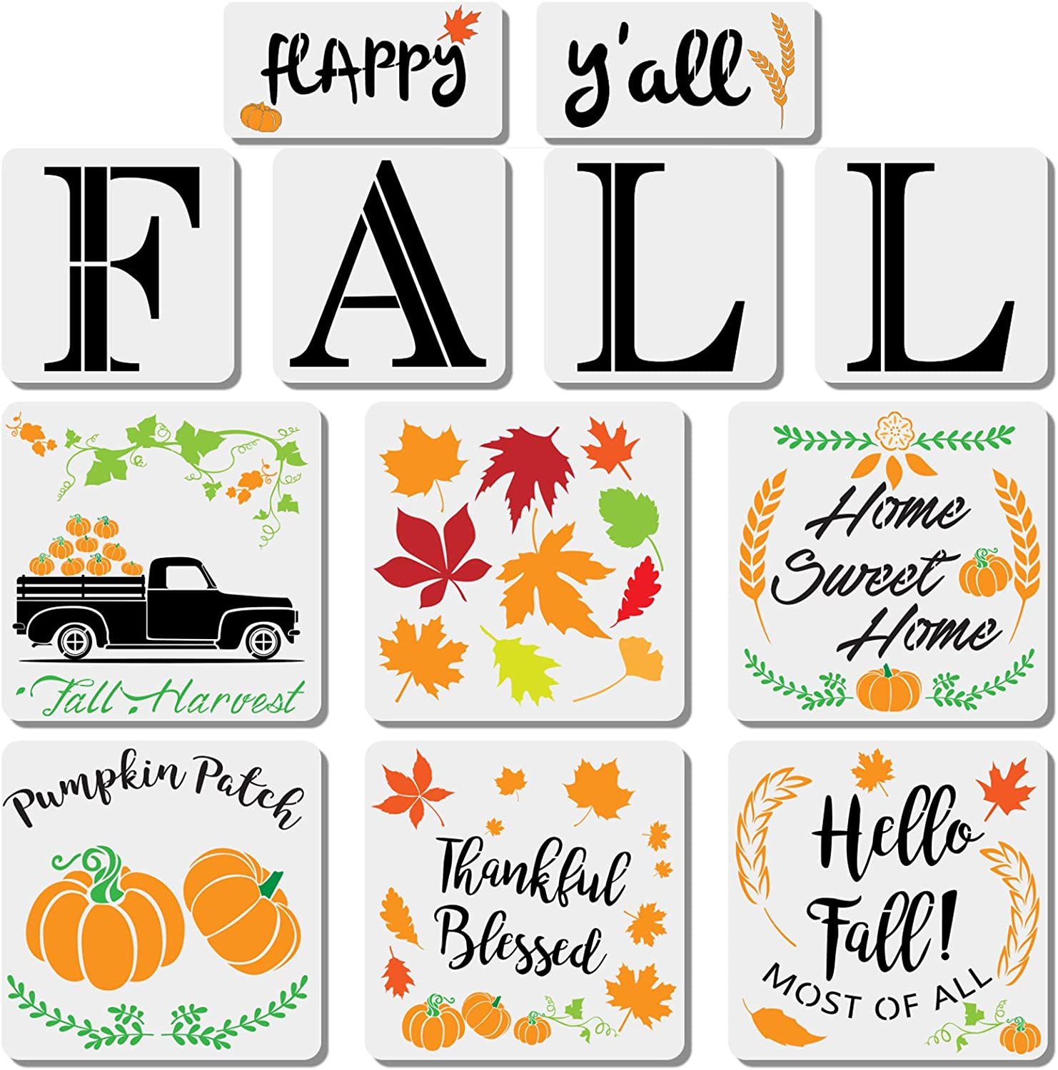 12Pcs Fall Painting Stencil Word Template, Reusable Large Stencils for Farmhouse Wood Signs Home Decor