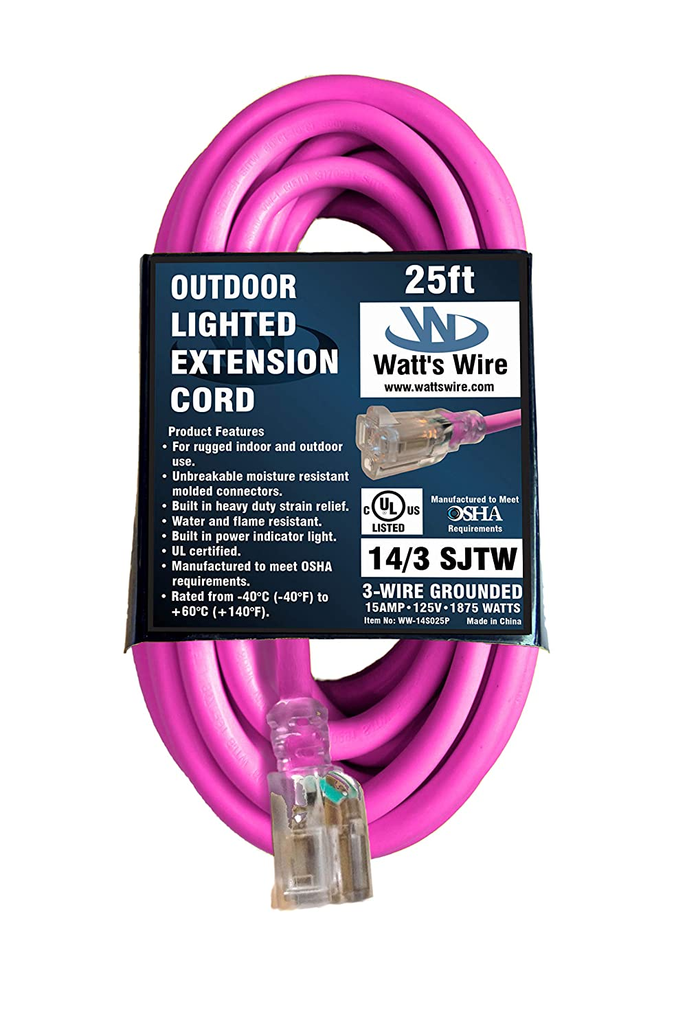 25-ft 14/3 Heavy Duty Lighted SJTW Indoor-Outdoor UL Listed Extension Cord by Watt's Wire - Pink 25' 14-Gauge Rugged Lighted Grounded 14-AWG 15-Amp Three-Prong Power-Cord