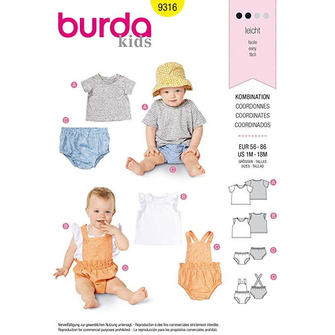 Burda Style 9316 - Patrones de costura para ropa deportiva de bebé ...
