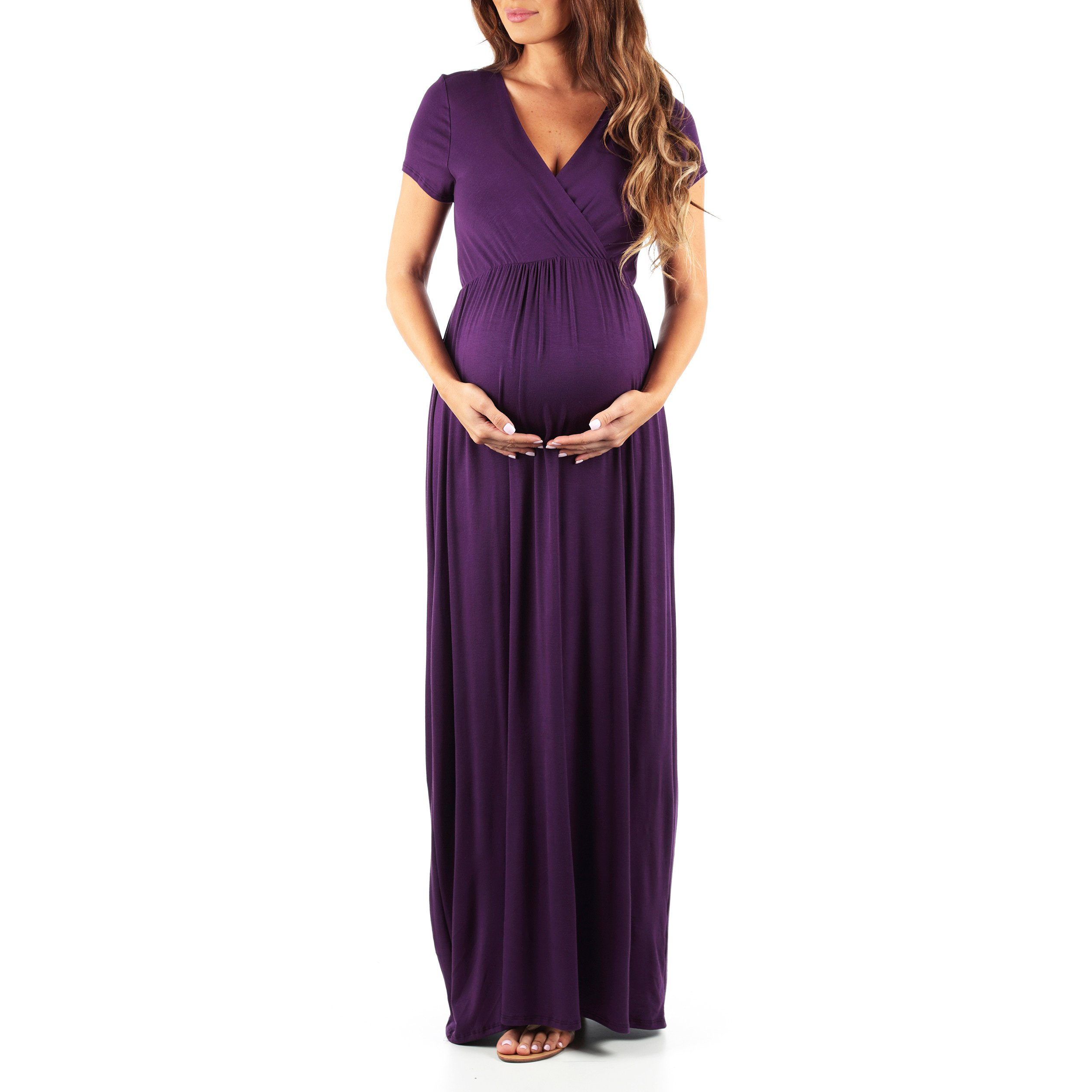 Mother Bee Maternity Short Sleeve Dress by Made In USA, Eggplant, Large