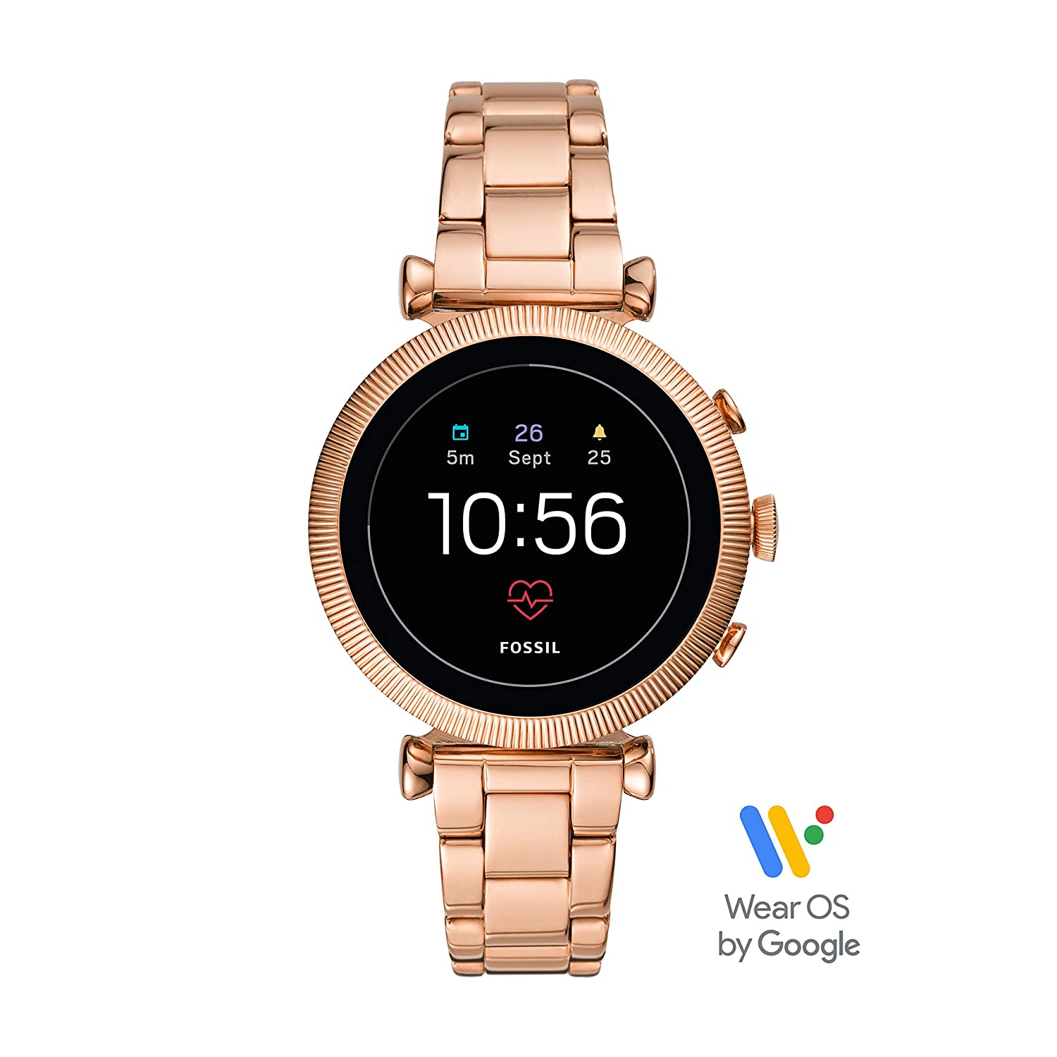 Fossil Womens Gen 4 Sloan HR Stainless Steel Touchscreen Smartwatch with Heart Rate, GPS, NFC, and Smartphone Notifications