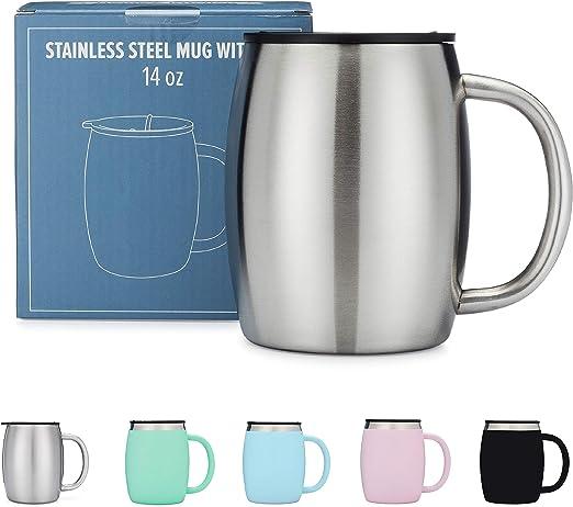 Amazon.com: Taza de café de acero inoxidable con tapa ...