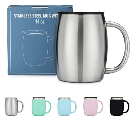 39d1760c0 Stainless Steel Coffee Mug with Lid - 14 Oz Double Walled Insulated Coffee  Beer Mugs - Silver - Best Value - BPA Free Healthy Choice - Shatterproof ...