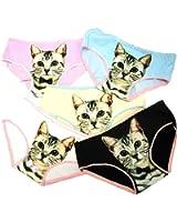 (デュカ) Duca かわいい 猫 柄 ショーツ 女性用 レディース 下着 インナー 5色 セット
