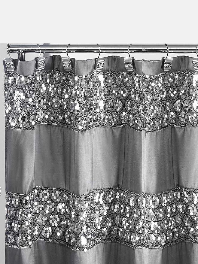 Amazon Com Popular Bath Sinatra Collection Shower Curtain Silver Home Kitchen