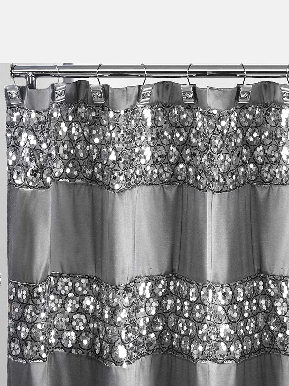 Popular Bath Sinatra Shower Curtain, Silver 738980231014