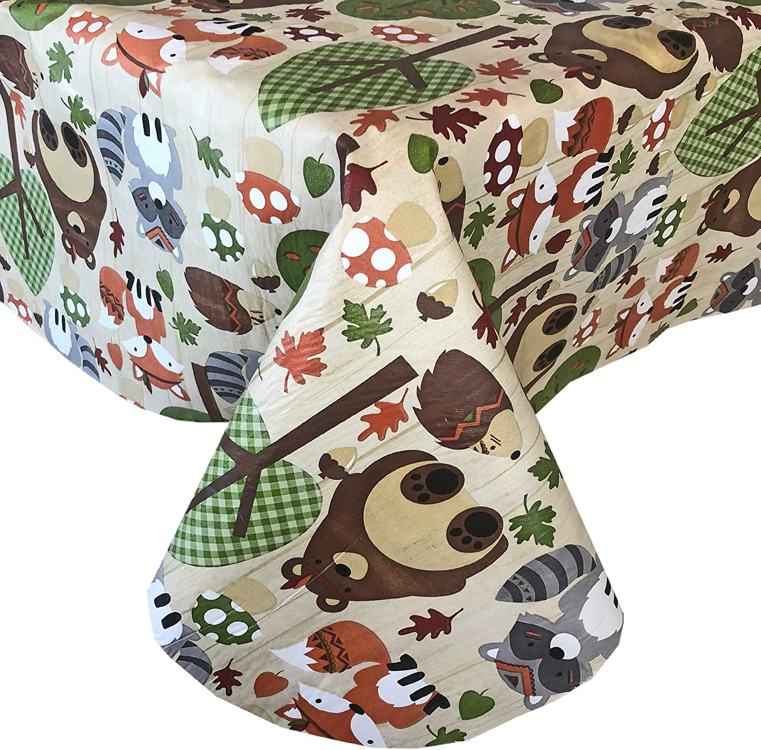 "Newbridge Woodsy Animal Friends Fall and Thanksgiving Vinyl Flannel Backed Tablecloth - Whimsical Forest Creatures Kitchen and Dining Room Print Easy Care Print Tablecloth, 60"" x 84"" Oblong/Rectangle"