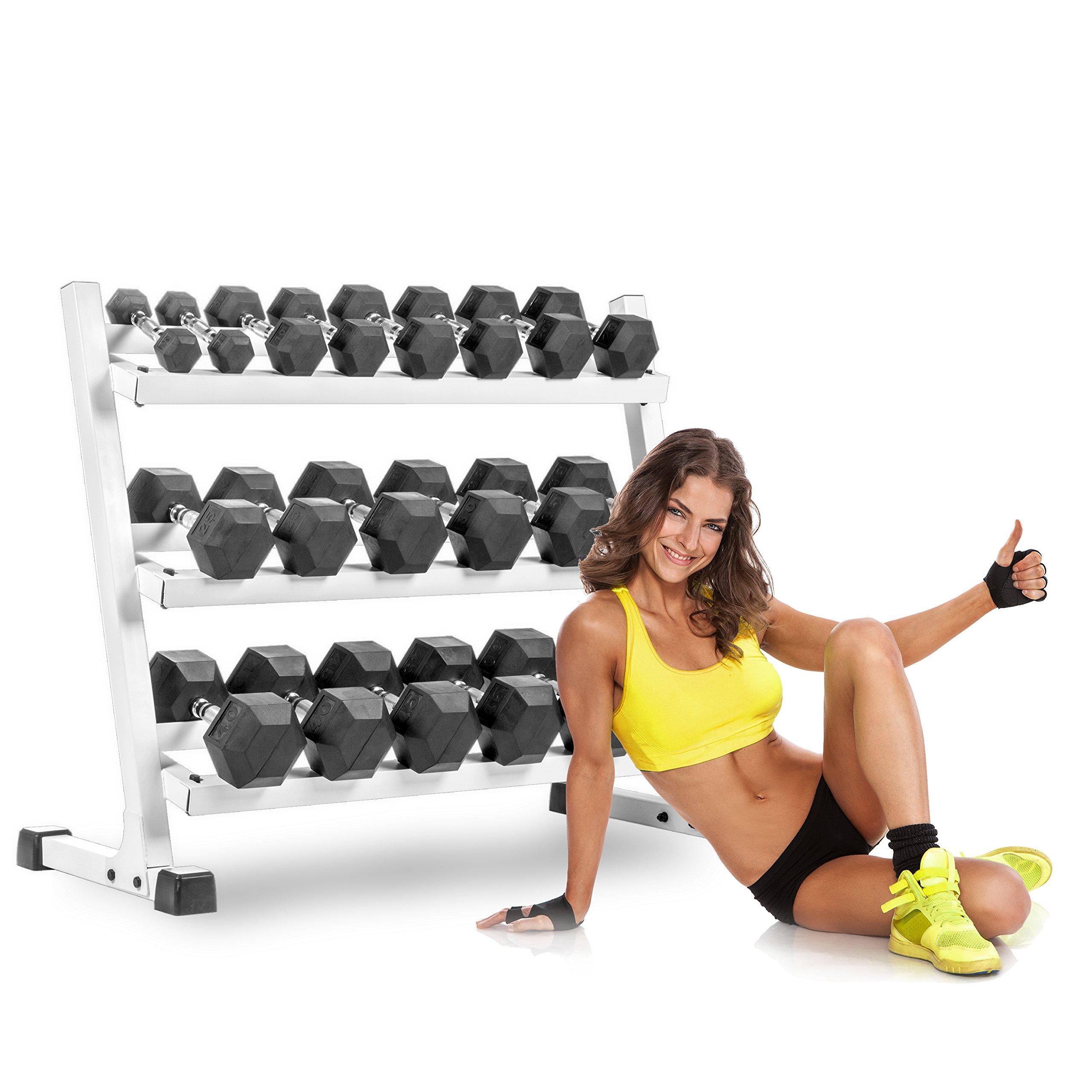 XMark 550 lb. Set Hex Dumbbell Set and Dumbbell Rack, 5 lb. to 50 lb. Dumbbell Set with Three Tier Dumbbell Rack for Easy Dumbbell Storage (White)
