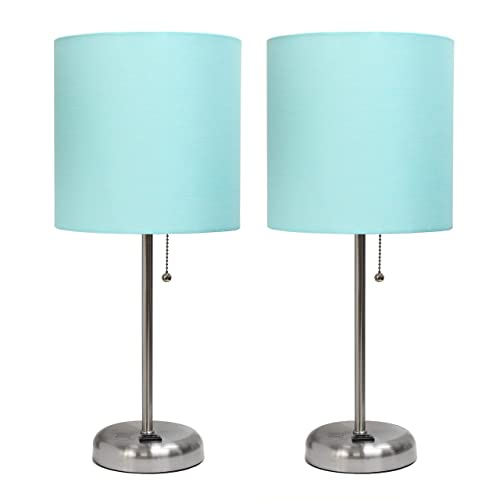 Brushed Steel Stick Lamp with Charging Outlet and Aqua Fabric Shade 2 Pack Set