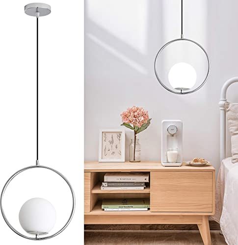 Modern Pendant Light for Bedroom, Dinning Room, Kicthen Island, Chrome Hanging Light Fixture with Spherical Frosted Glass Shade, 1 Light E26 Base