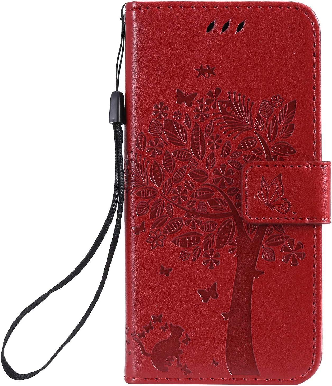 Karomenic kompatibel mit Samsung Galaxy A40 PU Leder H/ülle Katze Baum Pr/ägung Handyh/ülle Brieftasche Silikon Schutzh/ülle Klapph/ülle Ledertasche St/änder Wallet Flip Case Schale Etui,Grau