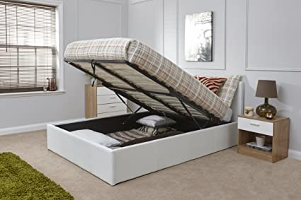Right Deals Uk Caspian Ottoman Gas Lift Up Storage Bed White 4ft6