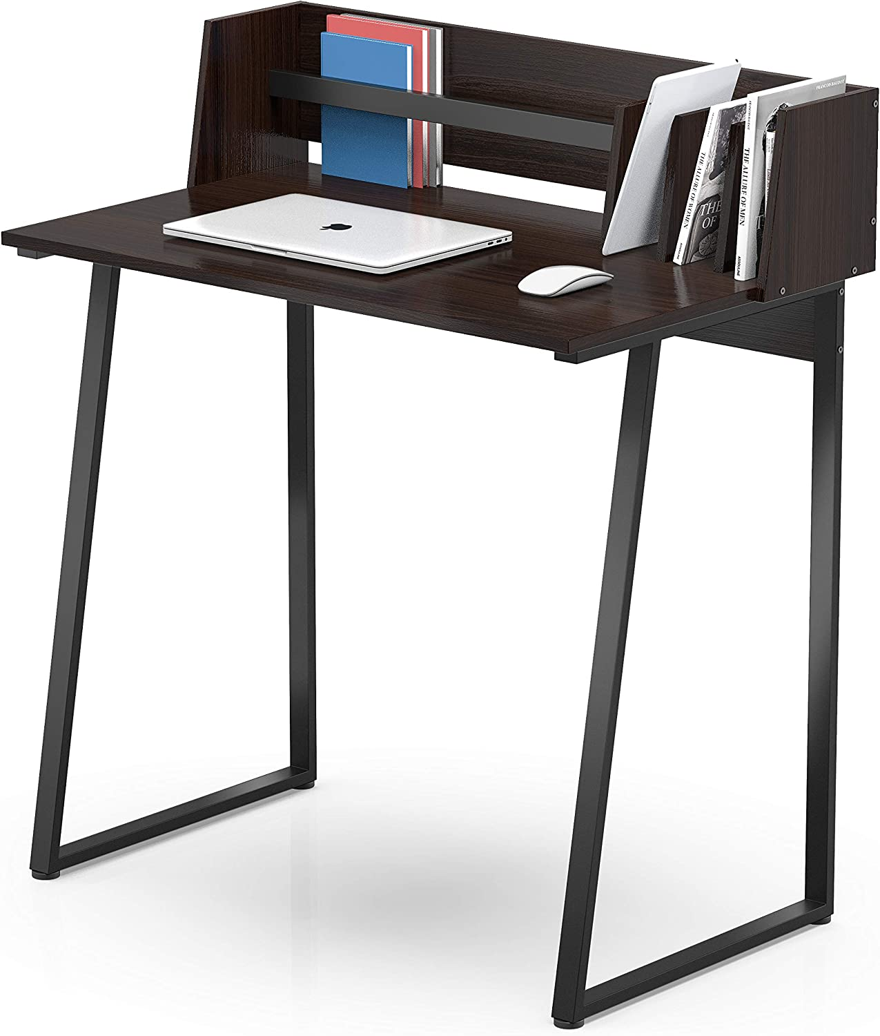 FITUEYES Black Writing Study Desk with Back Board Wood and Metal Computer Desk for Home and Office