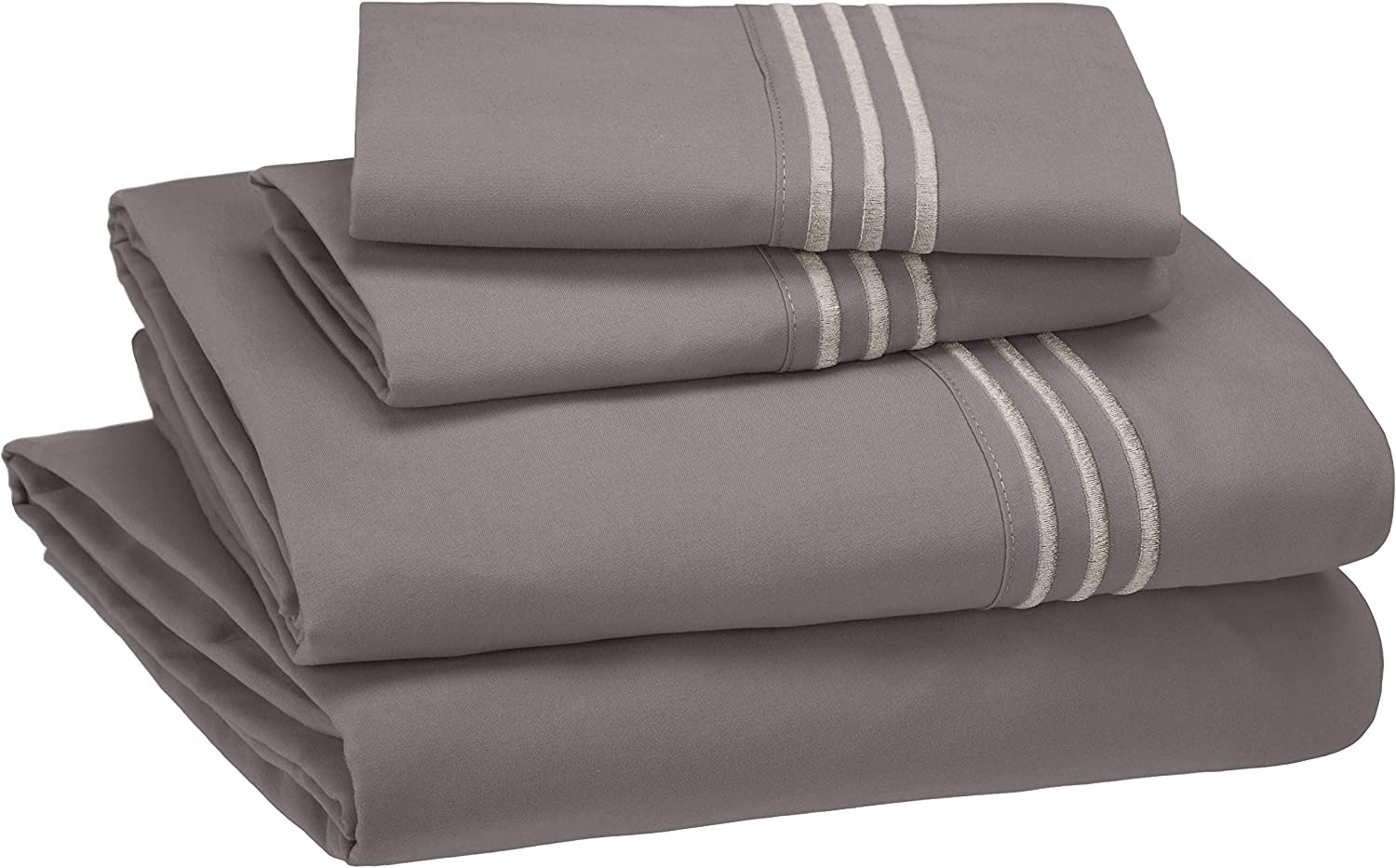 AmazonBasics Premium, Easy-Wash Embroidered Hotel Stitch Sheet Set - Queen, Dark Grey