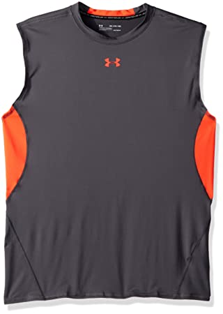 3f4b83ce94838 2018 Under Armour Heatgear Armour Hommes Gilet Sans Manches Formation  Compression Chemise Rhino Gray/Neon