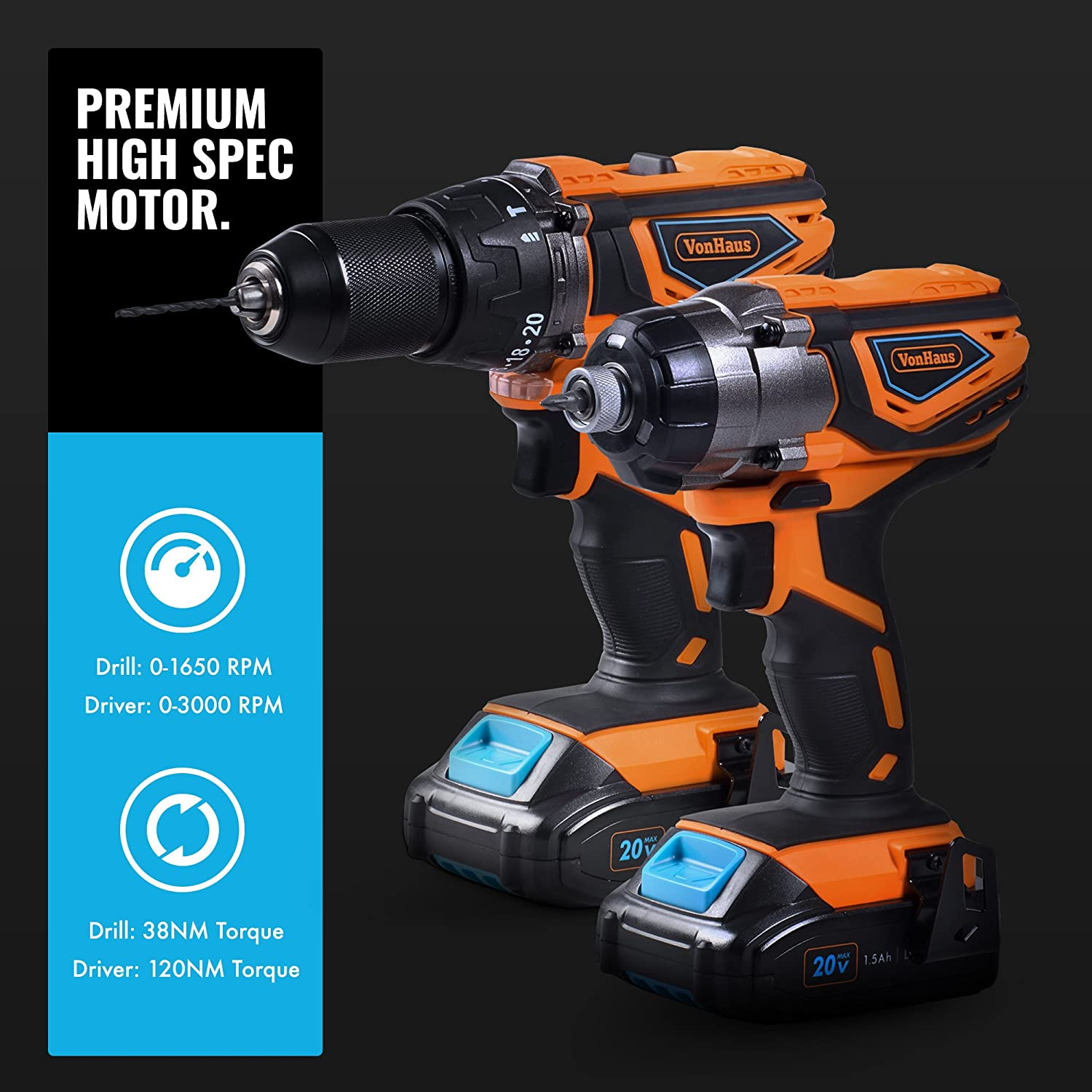 """/¼/"""" Hex Drive, 120Nm Torque VonHaus Cordless Impact Driver with 3.0Ah Li-ion 20V MAX Battery Includes Direction Control /& Variable Speed Trigger Charger /& Power Tool Bag"""